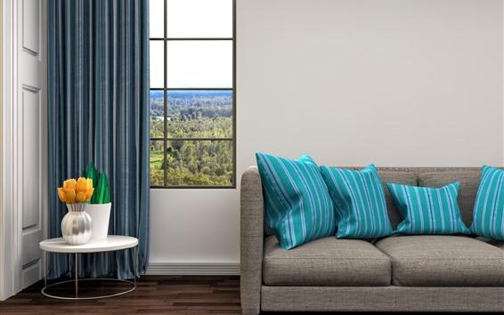 Wallpaper Living room, sofa, pillow, window