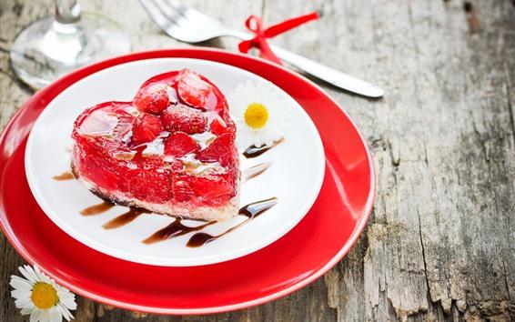 Wallpaper Love heart cake, romantic, strawberry