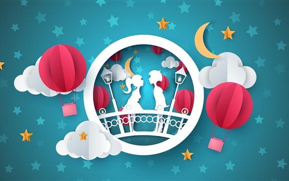 Fond d'écran Amour, papier, ballon, nuages, lune, étoiles, image créative