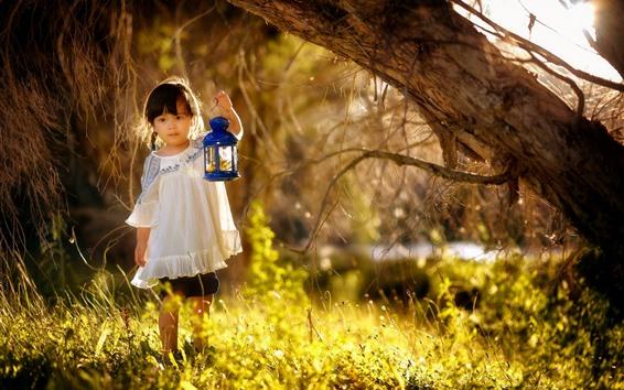 Wallpaper Lovely little girl, child, lamp, grass, sunshine