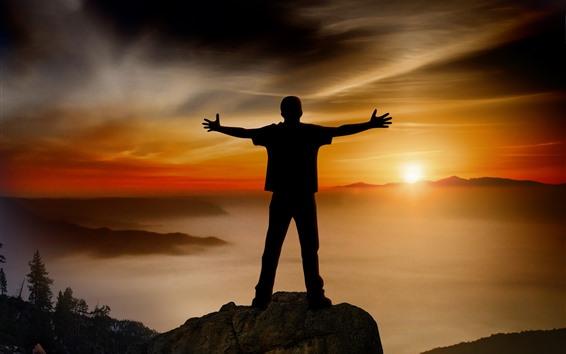 Fond d'écran Homme, silhouette, montagnes, brouillard, coucher de soleil