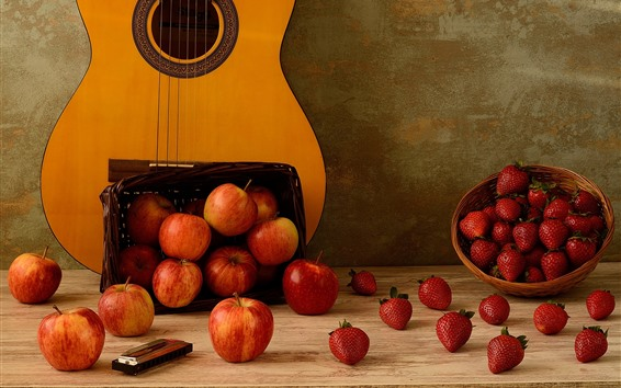 Wallpaper Many apples and strawberries, guitar
