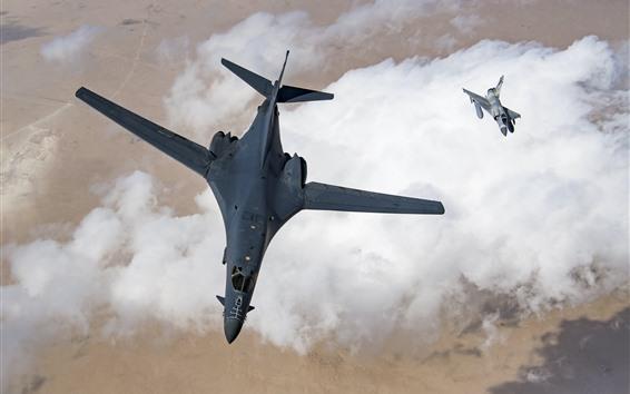 Wallpaper Mirage 2000 bomber, flight, white clouds