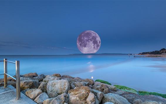 Wallpaper Moon, sea, creative picture