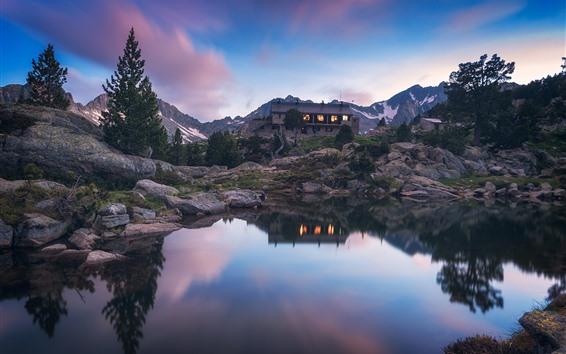 Wallpaper Mountain, house, lake, water reflection, dusk