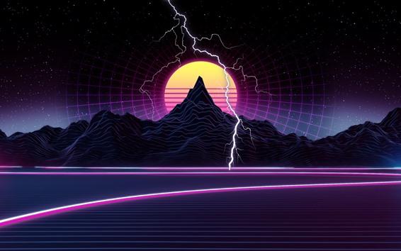 Fondos de pantalla Montaña, puesta de sol, relámpago, imagen artística