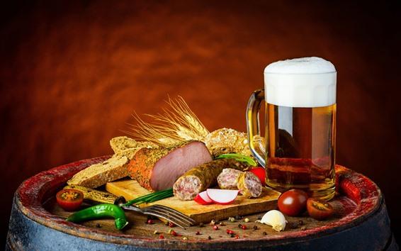 Wallpaper Mug, beer, meat, food, bread