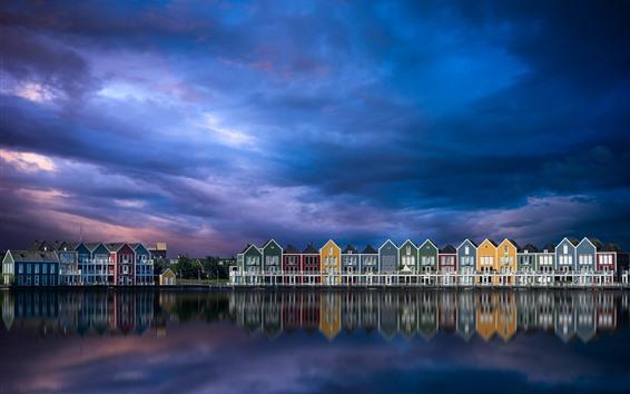 Wallpaper Netherlands, city, houses, river, sky, clouds, dusk