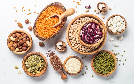 배경 화면 견과류, 곡물, 콩, 씨앗
