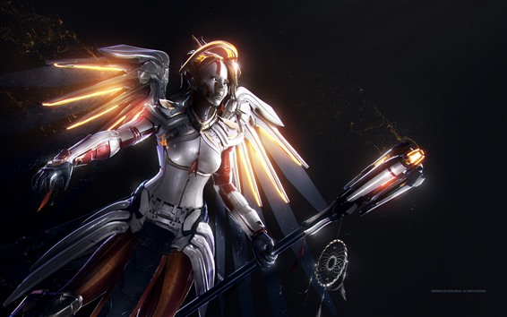 Обои Overwatch, Mercy, крылья