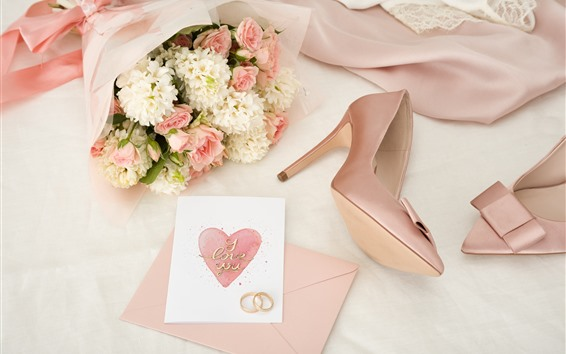 Wallpaper Pink and white flowers, wedding rings, love heart
