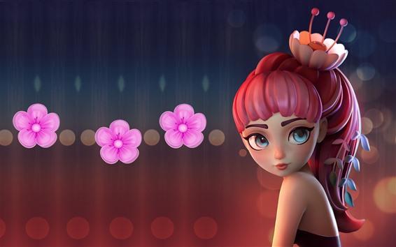 壁紙 ピンク髪ファンタジー少女、花、アート画像