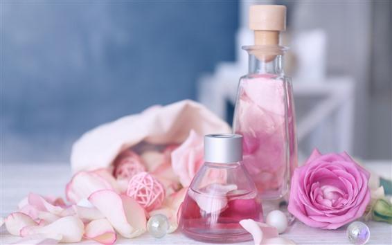 Wallpaper Pink roses, bottle, perfume