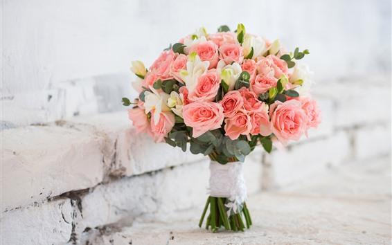 Wallpaper Pink roses, bouquet, bricks