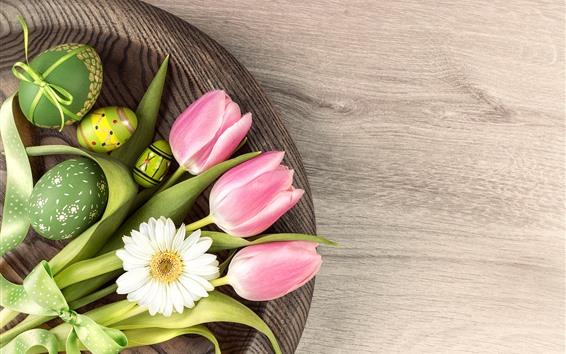 Fondos de pantalla Tulipanes rosados, huevos verdes, margarita blanca