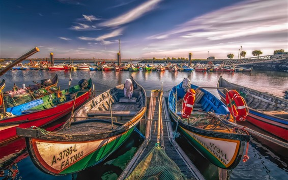 Wallpaper Portugal, Aveiro, some boats, river, pier