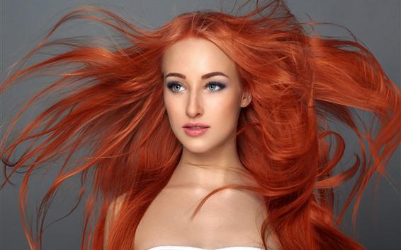 Fond d'écran Fille cheveux roux, coiffure, photographie d'art