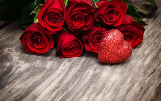 Papéis de Parede Rosas vermelhas, amor coração, brilhar, romântico