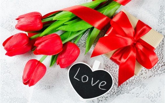 Wallpaper Red tulips, love, gift, romantic