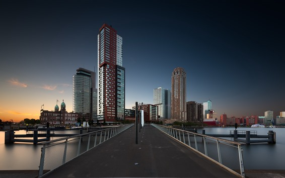 Wallpaper Rotterdam, Netherlands, skyscrapers, bridge, dusk, city