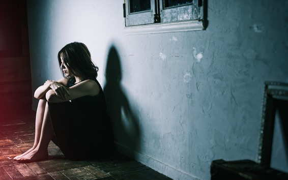 Papéis de Parede Menina tristeza, sente-se no chão