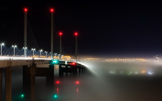 Wallpaper Scotland, bridge, river, lights, night, fog, city