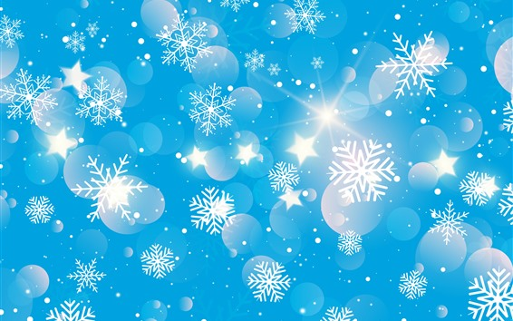 Fond d'écran Flocons de neige, étoiles, brille, fond bleu, image créative
