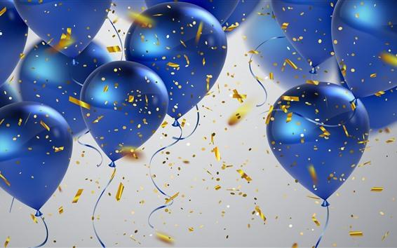 Wallpaper Some blue balloons, confetti, congratulation
