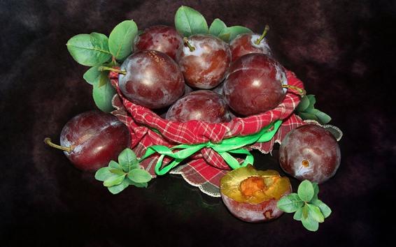 Wallpaper Some ripe plums, fruit