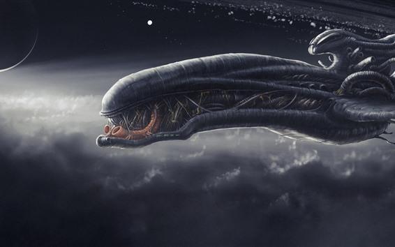 Fondos de pantalla Nave espacial, monstruo, imagen de arte de fantasía