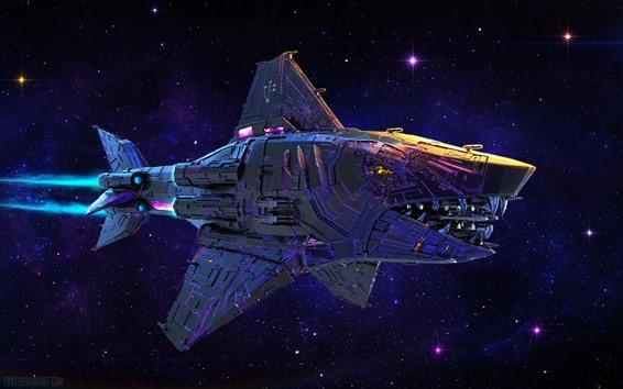 배경 화면 우주선, 상어, 우주, 창조적 인 디자인