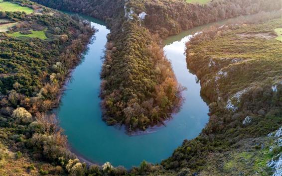 Papéis de Parede Espanha, asturias, oviedo, curva rio, vila