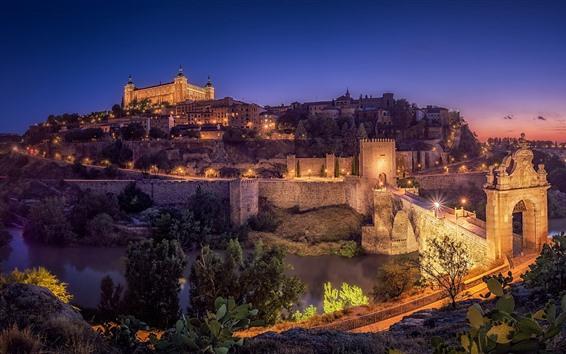 Wallpaper Spain, Toledo, night, city, bridge, river, lights, houses