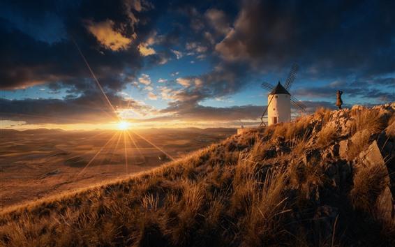 Wallpaper Spain, windmill, grass, sunrise