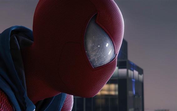 Обои Человек-паук, взгляд, маска, город