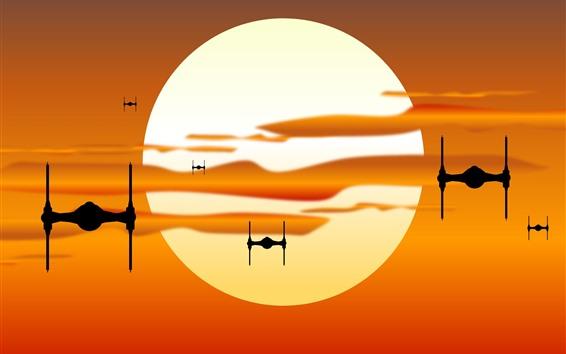 Wallpaper Star Wars, sunset, spaceship, silhouette