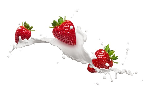 Wallpaper Strawberries, milk, white background