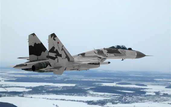 Wallpaper Su-35 multi-purpose fighter, flight, snow, winter