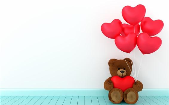 Papéis de Parede Ursinho de pelúcia, vermelho amor corações balões, romântico