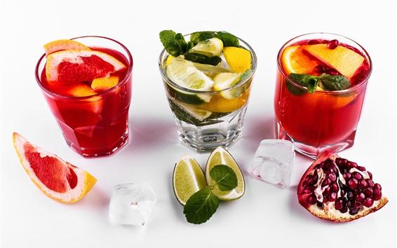 壁紙 フルーツジュース3杯、氷