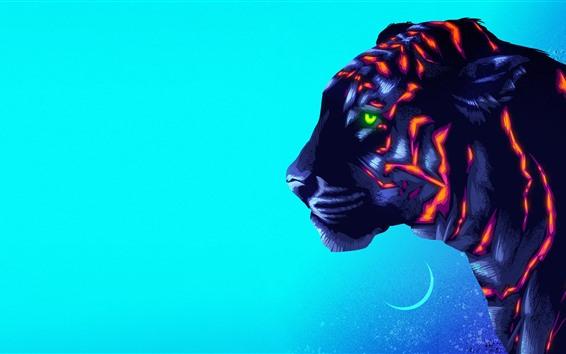 Обои Тигр, цвета, художественная картина, креативный дизайн