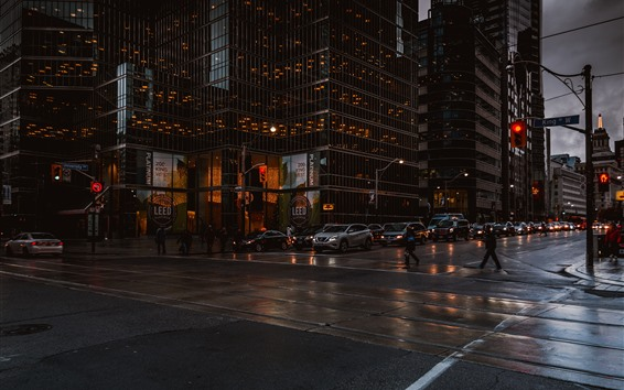 壁紙 トロント、カナダ、高層ビル、夜、人々