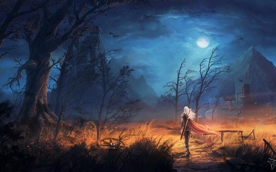 Wallpaper Trees, rain, mountain, warrior, sword, night, clouds, moon, art picture