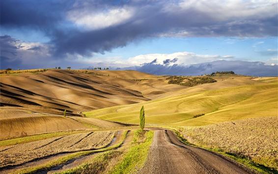 Papéis de Parede Tuscany, itália, campos, declive, campo, nuvens
