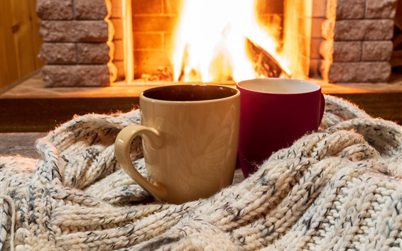 Wallpaper Two cups, sweater, fireplace