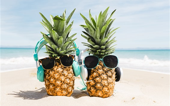 Wallpaper Two pineapples, sunglasses, beach, funny picture