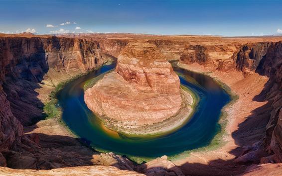Wallpaper USA, Colorado, Horseshoe Bend, river, mountains, rocks