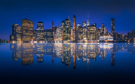 Wallpaper Usa Manhattan New York City At Night Skyscrapers Lights River Reflection 2560x1600 Hd Picture Image