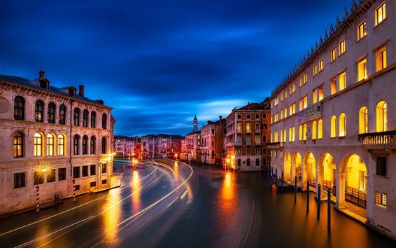 Fondos de pantalla Venecia, Véneto, ciudad, noche, casas, luces, río