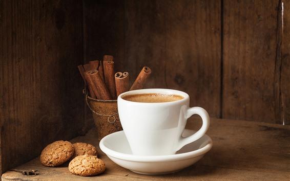 배경 화면 화이트 컵, 커피, 쿠키, 계피